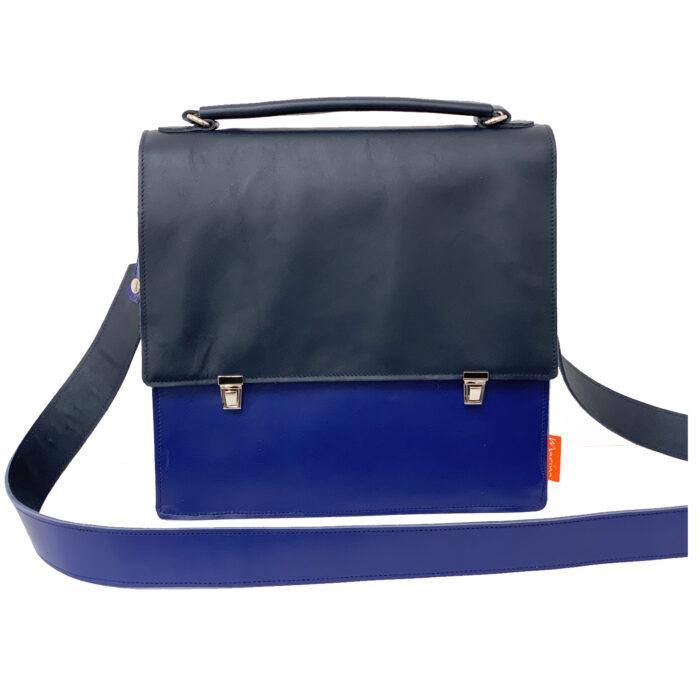 blauw leren schoudertas.blauwe handtas.marinabags.blue bag