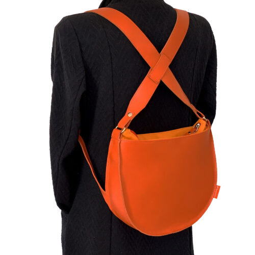 oranje rugtas, oranje rugzakje, leren rugtas