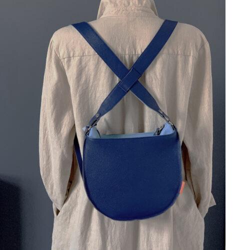 blauw leren rugtas, designtas, marinabags, Arnhem