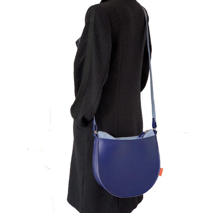 kobaltblauw leren tas, blauwe schoudertas MARINAbags
