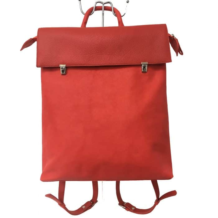 rode leren rugtas.rood leren rugzak.marinabags.rode tas