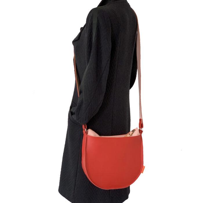 ronde tas, rood leren schoudertas, marinabags