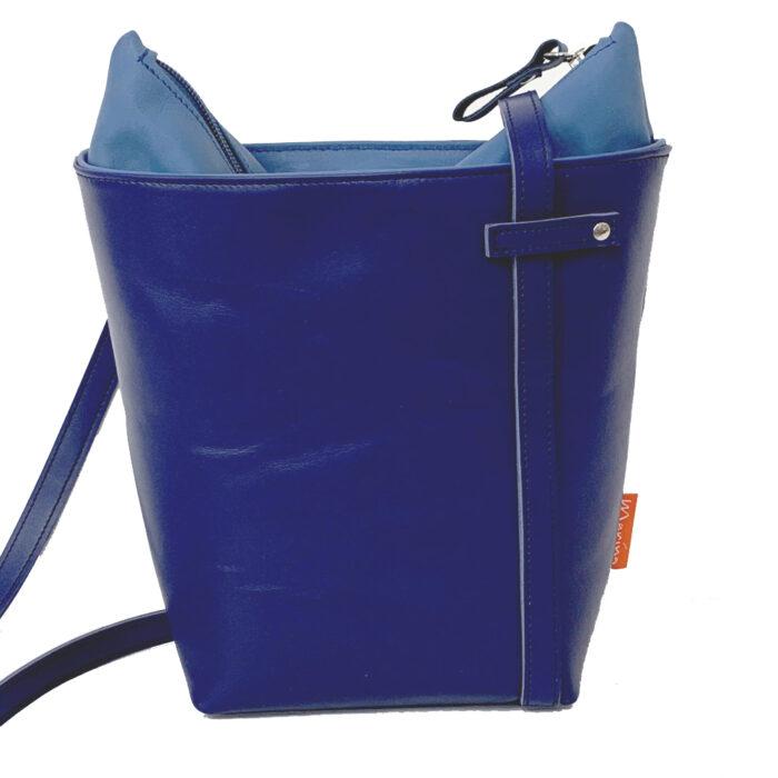blauwe leren tas. leren tas. handtas. handgemaakte tas. blauw leer. Arnhem. Marinabags