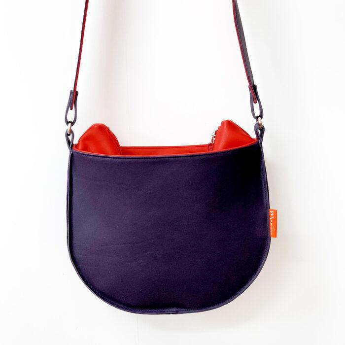handgemaakte leren tas, marinabags, rode schoudertas