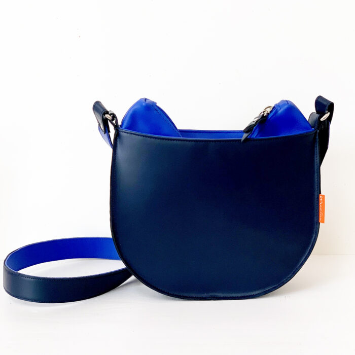 marinabags, blauw leren tas, uniek en handgemaakt