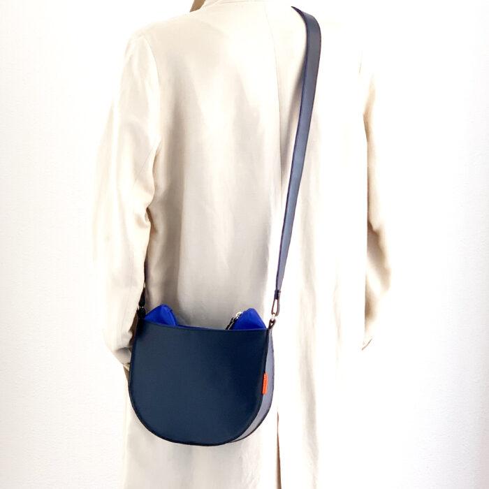 marinabags blauwe tas, handgemaakt en unieke leren tas