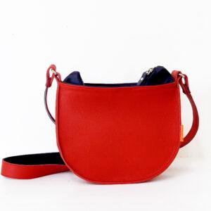 rode tas, leer, handgemaakt en uniek