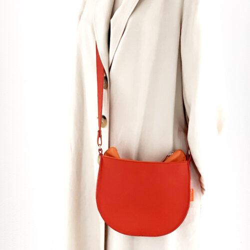 rood oranje leren tas, uniek en handgemaakt
